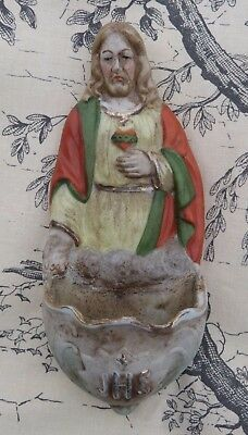 Lovely Vintage French Porcelain Holy Water Font with Jesus, JHS and Sacred Heart