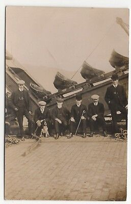 Men And Dog Posed In Front Of Large Mechanical Coveyer Old Real Photo Postcard