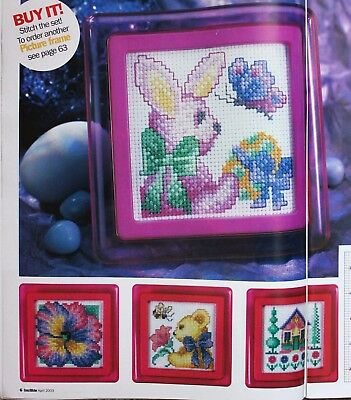 4 Small Pictures -  Cross Stitch Chart -Rabbit, Pansy, Teddy. House
