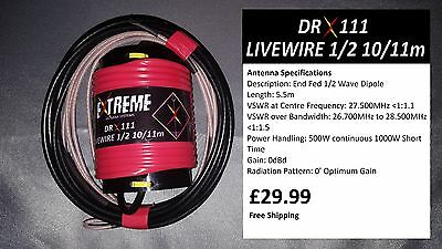 DRX111 Livewire 1/2 Wave 10/11m Portable Antenna System