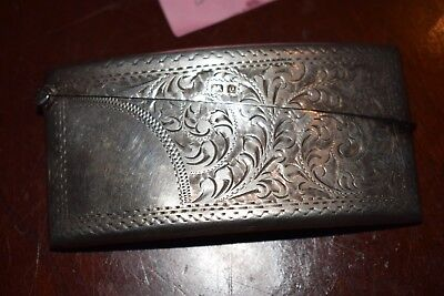 Beautiful Floral Solid Silver Curved Card Case Joseph Gloster Birmingham 1904