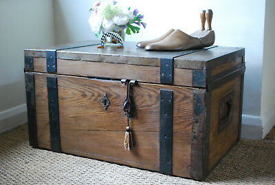vintage ex industrail metal bound pine box chest coffee table