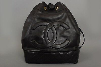 VINTAGE CHANEL 80s/90s BLACK LEATHER CC QUILTED RUCKSACK SHOULDER BACKPACK BAG