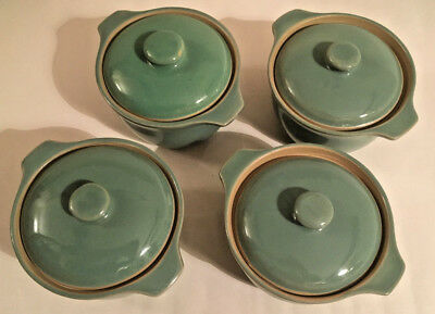 Denby Manor Green Covered Soup Bowls x Four all in Very Good Condition