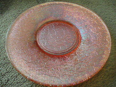 """Imperial Glass Crackle Marigold Carnival Saucer under plate Amber Luster 6""""w"""