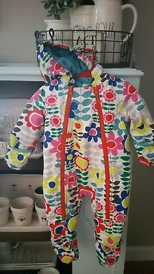Baby Boden Floral bunting snowsuit size 6-12 m