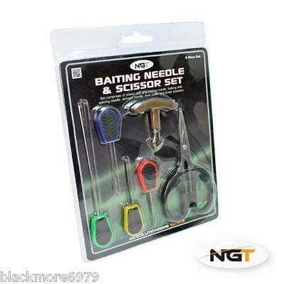 6pc NGT Carp Fishing  Baiting Needles Boilie/Bait Drill Scissors Knot Puller