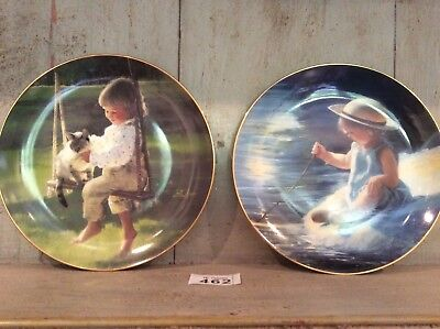 """2 x Border Fine Arts MOMENTS OF WONDER collectable ~ collector plates  ~Two ~ 8"""""""
