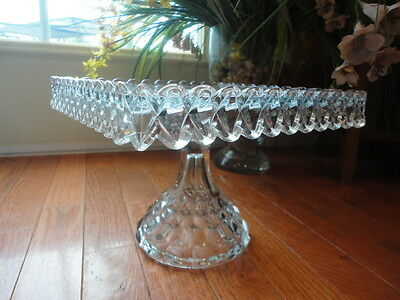 Fostoria AMERICAN CLEAR Square Cake Stand Rum Well 7-1/4 Tall Vintage