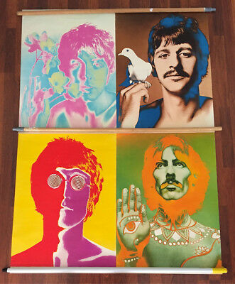 THE BEATLES Complete ORIGINAL Set of 4 RICHARD AVEDON Psychedelic Posters 1967