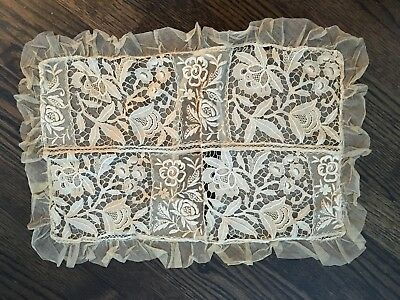 Gorgeous  Antique Victorian Mesh Embroidered Lace Net Pillow Case Ruffle 13 x 19