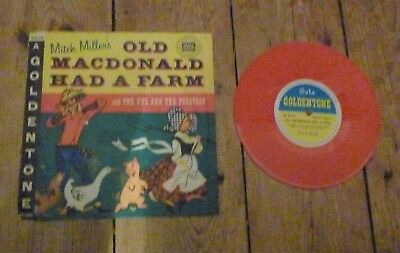 "Mitch Miller`s Old Macdonald Had A Farm 6"" Red Vinyl Pic Slv Combined Postage"