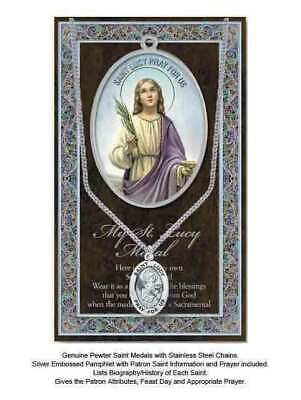 Pewter Saint Lucy Medal Pendant, 15 x 24mm Oval, Stainless Steel Chain & Biograp