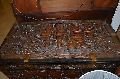 Excellent Antique Chinese Deep Carving Hard Wood Curio Chests.