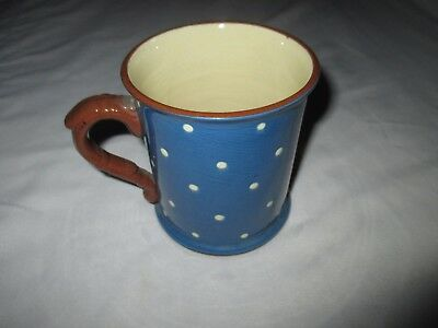 Torquay Devon Pottery Ware Babbacombe Blue Polka Dot Domino 500ml Mug