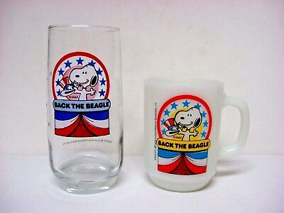 LOT 2 Snoopy Anchor Hocking MILK GLASS mug CLEAR glass BACK the BEAGLE