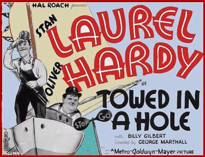 16mm Short: TOWED IN A HOLE Laurel & Hardy LAB NEW Original print