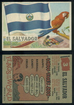 (54723) 1956 Topps Flags Of The World 3 El Salvador-VG