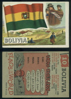 (54727) 1956 Topps Flags Of The World 10 Bolivia-VG