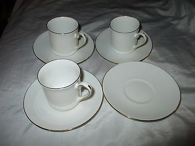 Queens Fine China Staffordshire White Gold Gild 3 Coffee Cans Cups 4 Saucers