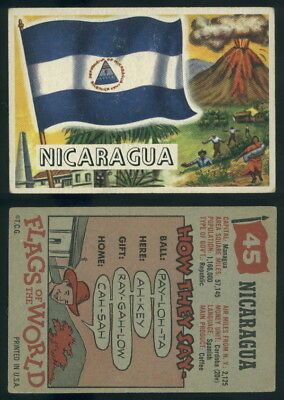 (54738) 1956 Topps Flags Of The World 45 Nicaragua-VG