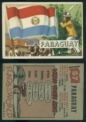 (54742) 1956 Topps Flags Of The World 57 Paraguay-VG