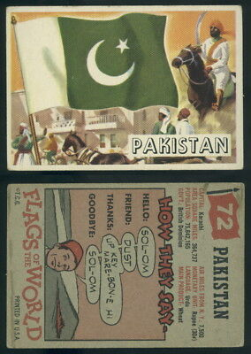 (54748) 1956 Topps Flags Of The World 72 Pakistan-VG