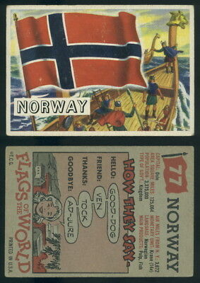 (54753) 1956 Topps Flags Of The World 77 Norway-VG
