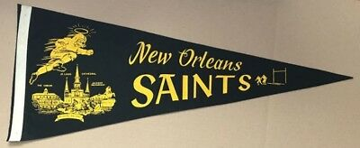 1960s New Orleans Saints Felt Pennant - 11 1/2 x 29 - New Orleans Attractions -