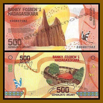 Madagascar 500 Ariary, 2017 P-New Mountain Butterfly Colorful Unc
