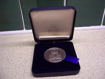 Winchester Cathedral Silver Metal Medallion Coin Boxed