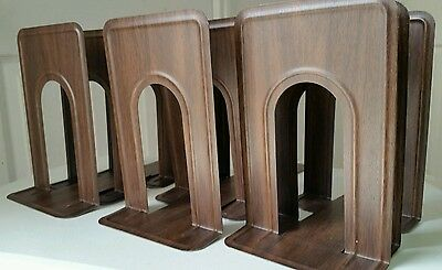"""LOT of 10 - Woodgrain Metal Bookends -  9.25"""" Library, School Book Ends"""