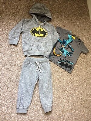 M&S Boys Batman Outfit 2-3 Years Tracksuit Jogging Bottoms Hoodie T-shirt