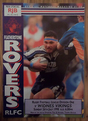 FEATHERSTONE v WIDNES  26/07/98  EXCELLENT