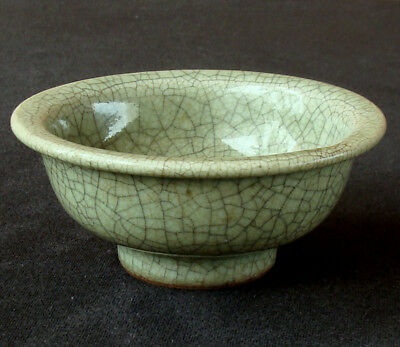 Antique Chinese Qing Dynasty Guan Type Celadon Crackle Glaze Ceramic Bowl Pot