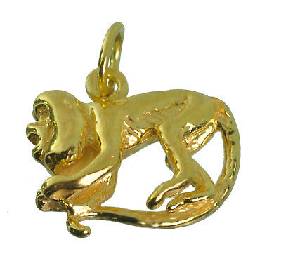 NICE New 10K Real Yellow Gold screaming playful capuchin monkey 3D charm Jewelry