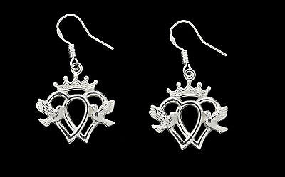 NICE New Crown Dove Heart Luckenbooth Claddagh Earrings Sterling silver .925 Jew