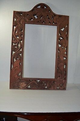 Antique Chinese 18th 19th  Century Wood Panel photo Mirror Frame.