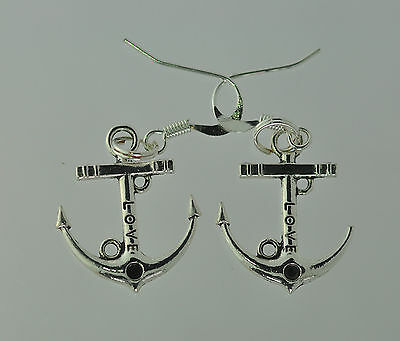 NICE New Sterling Silver 925 nautical Boat ship anchor Earrings Jewelry Love Cru