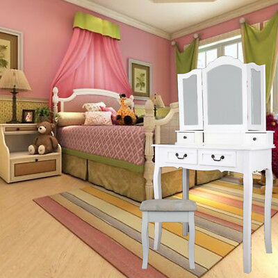 4 Drawers Dressing Table Mirror & Stool White Dresser Desk Bedroom Furniture