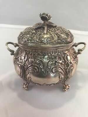 German 800 Silver High Repousse Rose Covered Footed Sugar