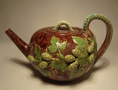 Lovely Rare Rye Pottery Antique Majolica Teapot Hops Pattern 1909 Sussex Ware