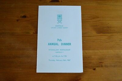 Sheffield Cricket Lovers' Society Autographed 7Th Annual Dinner Menu 1967