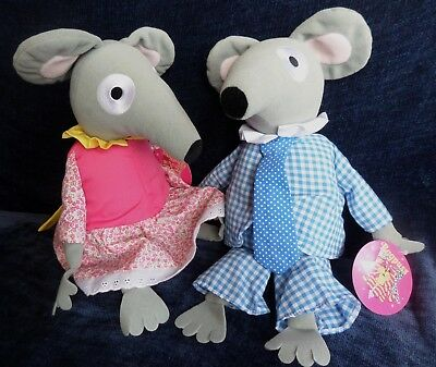 "2 x Bagpuss Organ Mice: Charlie & Lizzie Mouse 13"" Plush Soft Toy NEW 2002 +tags"