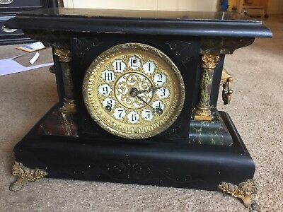 Mantle Clock Vintage Antique Has Key Not Working Antique