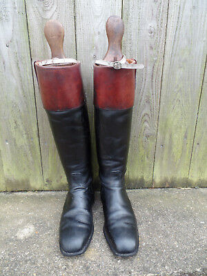 Leather Hunting Riding Boots with Tan Mahogany Tops and Trees