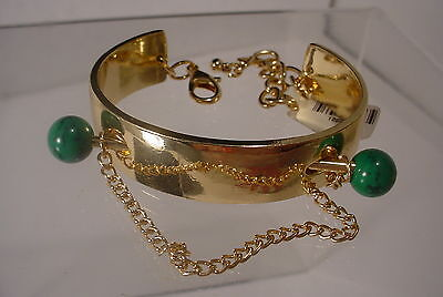 Goldtone & Green Barbell Cuff Style bracelet with Tags