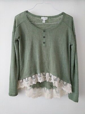5f083b0d00 FULL TILT SMALL Green High Low Sweater with Lace Hem Sheer - $10.92 ...
