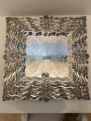 Gorgeous Silverplate Trays 4 Nesting Stamped Crown