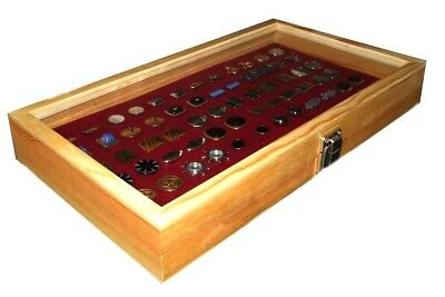 Natural Wood Glass Top Lid Burgundy Cufflinks Jewelry Display Storage Box Case